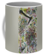 Green Pink Brown Abstract Art Spring Color Blossom Flower Butterfly Painting Abstract Acrylic Ink Ar Coffee Mug