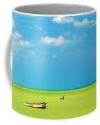 Green Sea And Boats Coffee Mug