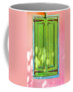 Green Shutters Pink Stucco Wall 2 Coffee Mug