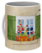 Green Shutters With Red Flowers Coffee Mug