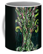 Green Tree With Pink Watercolor Coffee Mug