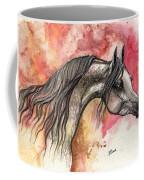 Grey Arabian Horse On Red Background 2013 11 17  Coffee Mug