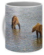 Grizzly Bears Looking For Salmon In Moraine River In Katmai Np-ak Coffee Mug