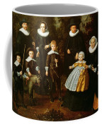 Group Portrait Of Three Generations Of A Family In The Grounds Of A Country House Oil On Canvas Coffee Mug