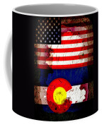 Grunge Style Usa And Colorado Flags Coffee Mug
