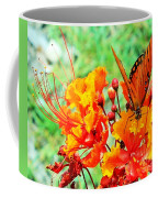 Gulf Fritillary Butterfly On Pride Of Barbados Coffee Mug