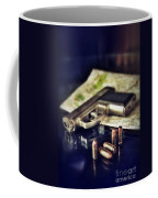 Gun With Bullets And Map Coffee Mug by Jill Battaglia