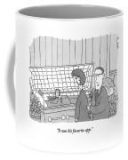 Guy Is In Casket Holding An Ipad Coffee Mug
