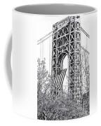 Gw Bridge American Flag In Black And White Coffee Mug