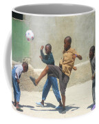 Haitian Boys Playing Soccer Coffee Mug