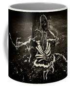 Halloween Green Skeleton Vinette Black And White Coffee Mug