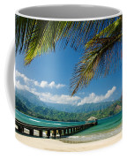 Hanalei Pier And Beach Coffee Mug