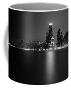Hancock Building Reflection From North Ave Beach - Black And White Coffee Mug