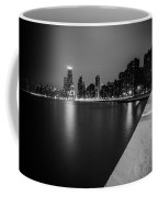 Hancock Building Reflection With Sidewalk - Black And White  Coffee Mug