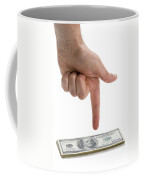 Hand Points At Money Pile Coffee Mug