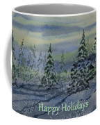 Happy Holidays - Snowy Winter Evening Coffee Mug
