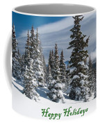 Happy Holidays - Winter Trees And Rising Clouds Coffee Mug