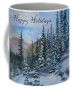 Happy Holidays Forest And Mountains Coffee Mug
