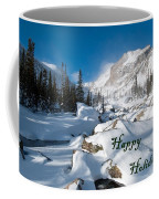 Happy Holidays Snowy Mountain Scene Coffee Mug