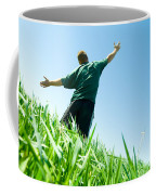Happy Man On The Summer Field Coffee Mug