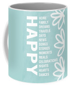 Happy Things Blue Coffee Mug by Linda Woods