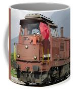 Happy Woman Standing On Train Coffee Mug