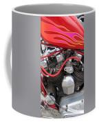 Harley Close-up Pink And Red Flames Coffee Mug