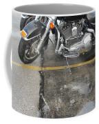 Harley Close-up Rain Reflections Wide Coffee Mug