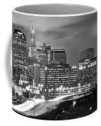 Hartford Skyline At Night Bw Black And White Panoramic  Coffee Mug