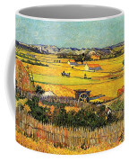 Harvest At La Crau With Montmajour In The Background Coffee Mug by Vincent Van Gogh