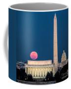 Harvest Moon Over Lincoln Memorial Coffee Mug