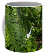 Hawaiian Garden Visitor - A Bright White Egret In The Lush Greenery Coffee Mug
