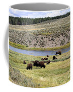 Hayden Valley Bison Herd In Yellowstone National Park Coffee Mug