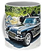 Chevrolet Corvette Vintage With Curly Background Coffee Mug