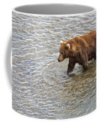 Head Grizzly Bear With Intense Fishing  Focus For Salmon In Moraine River In Katmai Np-ak Coffee Mug