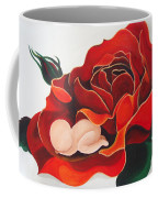 Healing Painting Baby Sleeping In A Rose Coffee Mug