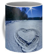 Heart Outlined On Snow On Topw Of Frozen Lake Coffee Mug