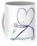 Heart Touches Flower Lovingly Coffee Mug
