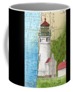Heceta Head Lighthouse Or Nautical Chart Map Art Cathy Peek Coffee Mug