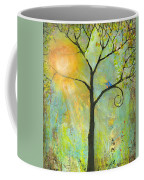 Hello Sunshine Tree Birds Sun Art Print Coffee Mug by Blenda Studio
