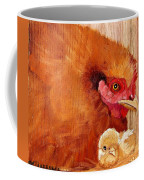 Hen With Chick On Wood Coffee Mug
