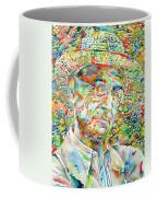 Hermann Hesse With Hat Watercolor Portrait Coffee Mug