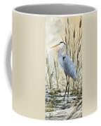 Heron And Cattails Coffee Mug