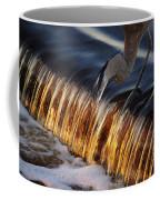 Heron Fishing At The Weir Coffee Mug