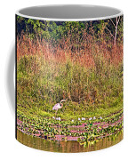 Heron On Shore Of Rapti River In Chitwan Np-nepal  Coffee Mug