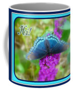 Hi Hello Greeting Card - Red Spotted Purple Butterfly Coffee Mug
