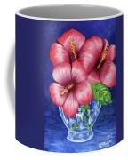 Hibiscus In Glass Vase Coffee Mug