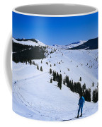 High Angle View Of Skiers Skiing, Vail Coffee Mug