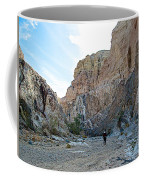 Hiker In Big Painted Canyons Trail In Mecca Hills-ca Coffee Mug