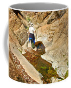 Hiker On Window Trail In Chisos Basin In Big Bend National Park-texas   Coffee Mug